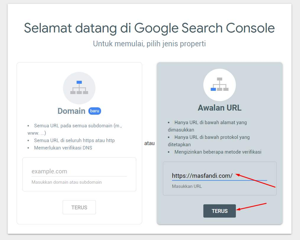 Tampilan Awal Google Search Console